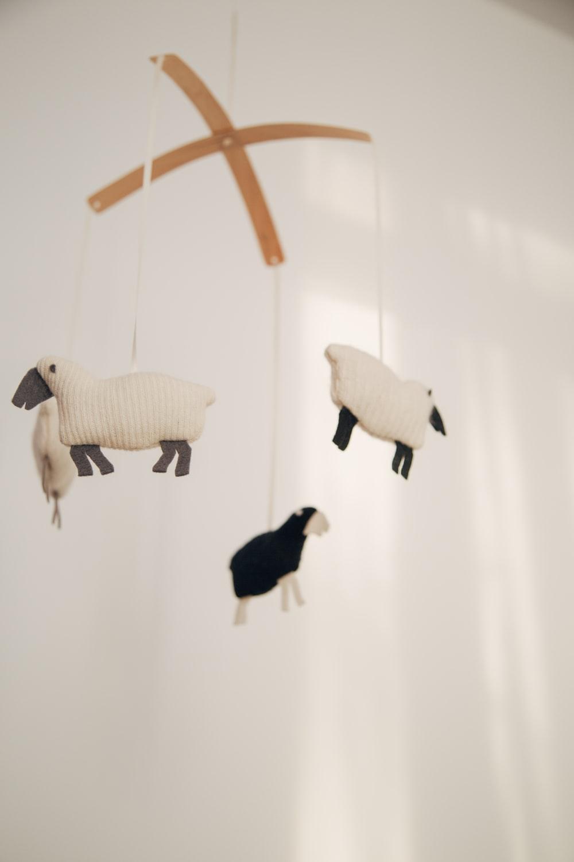 white sheep baby mobile