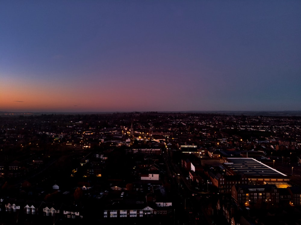 aerial photography of city during nighttime