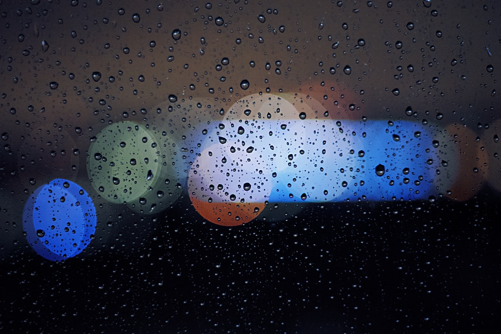 bokeh lights and water droplets
