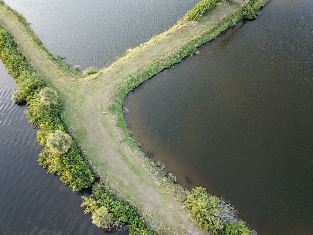 aerial photo of pathway