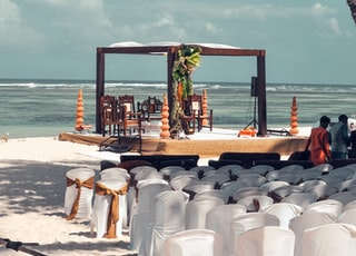 gazebo and chairs on shore