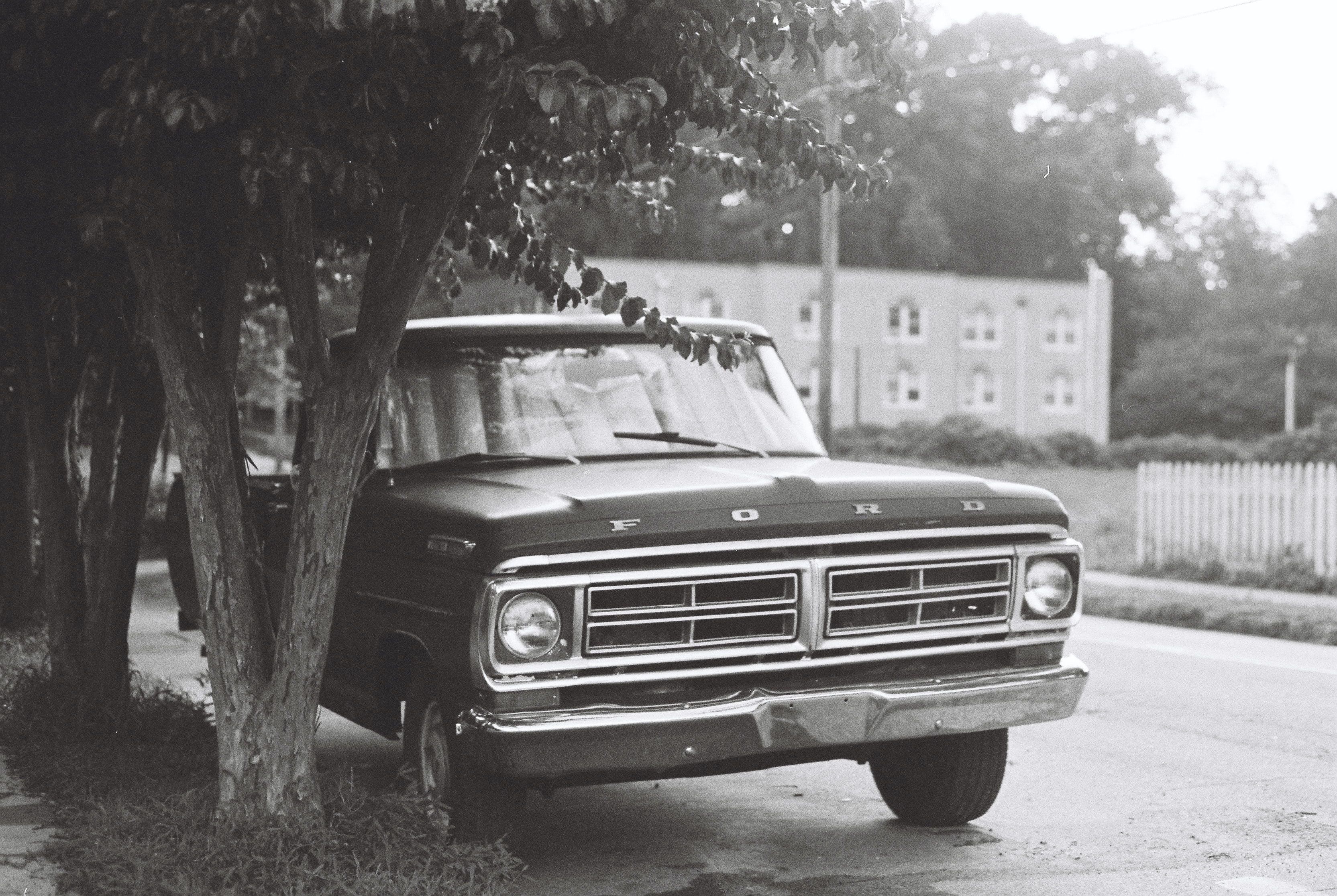 grayscale photography of vehicle near trees