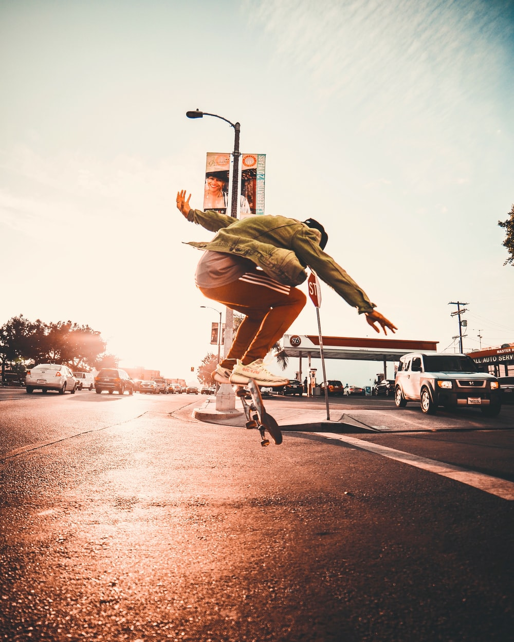man doing skateboard trick