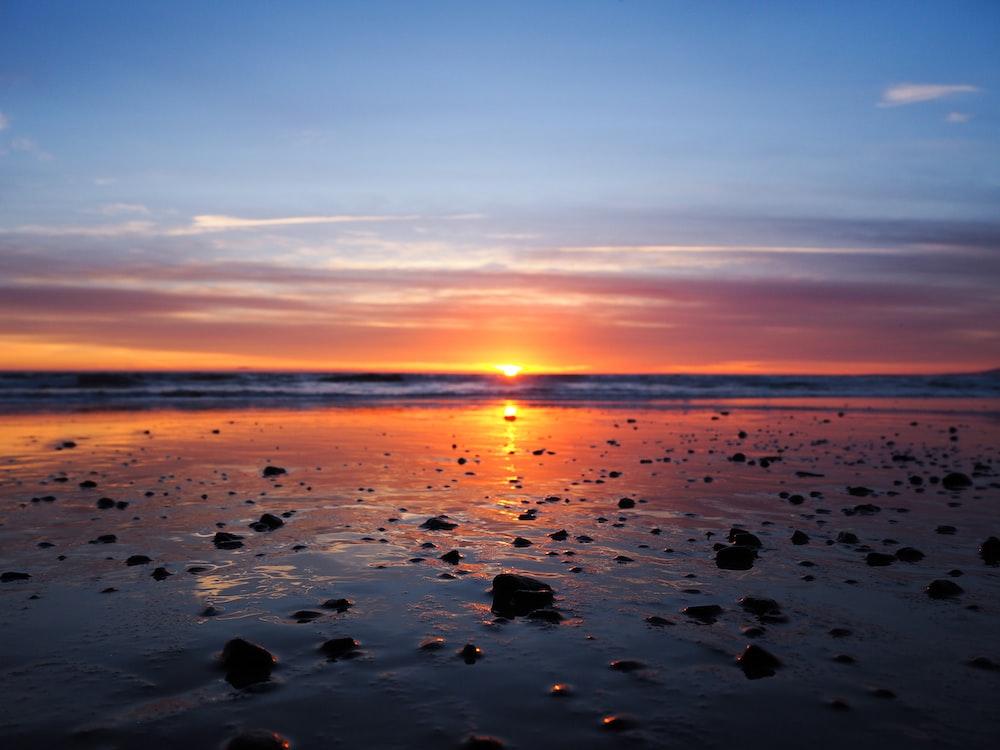 seashore under yellow orange sky