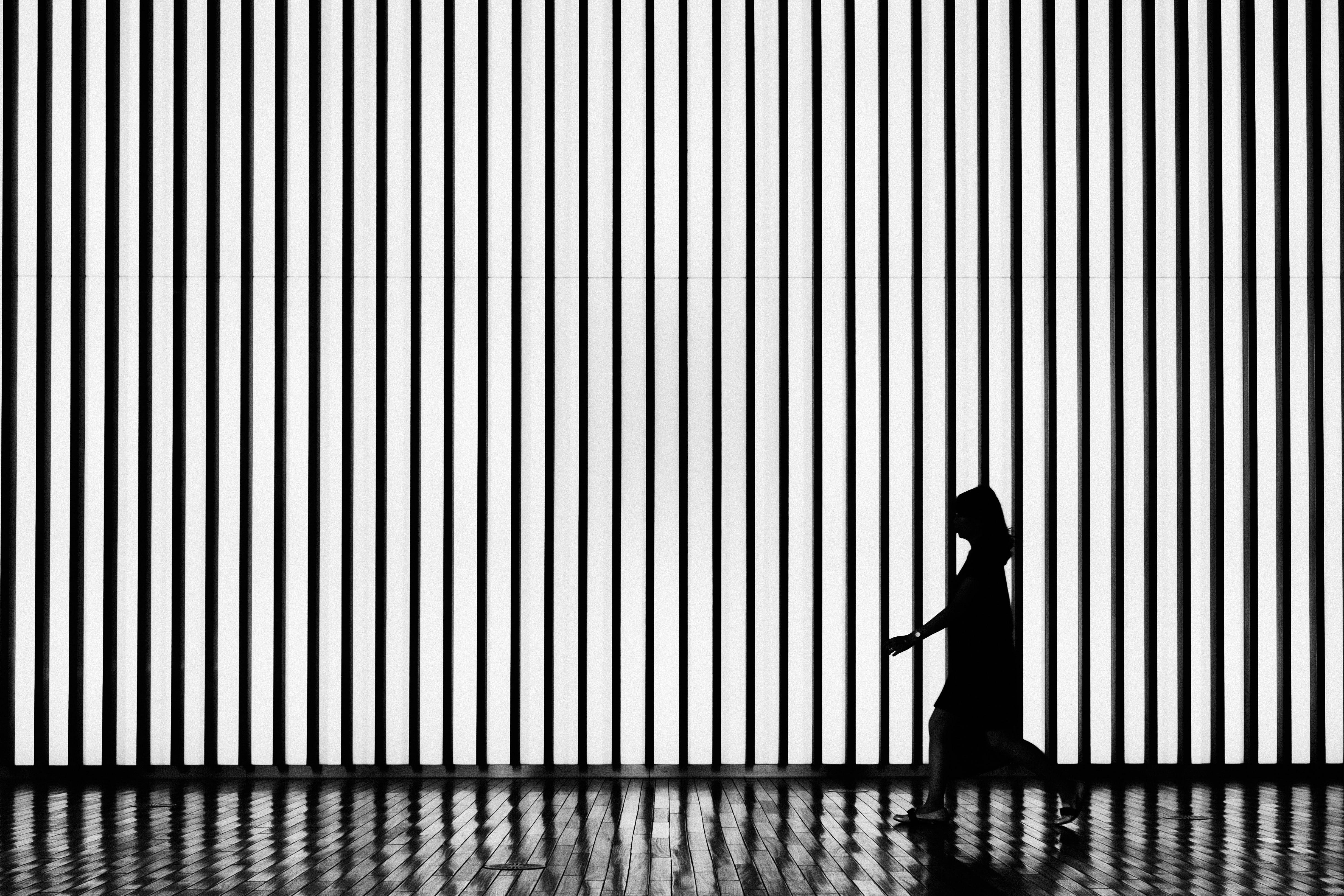 black and white striped curtain