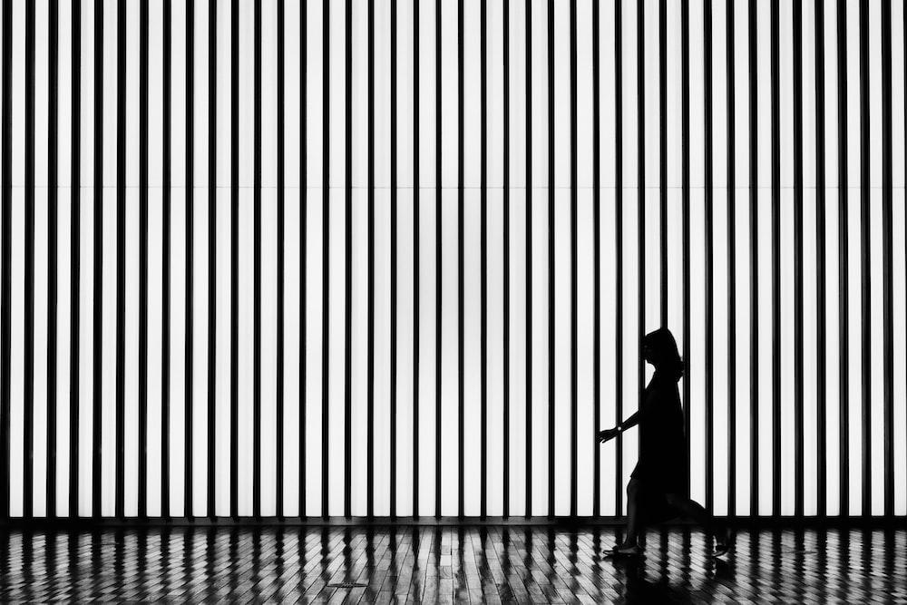 silhouette on walking woman