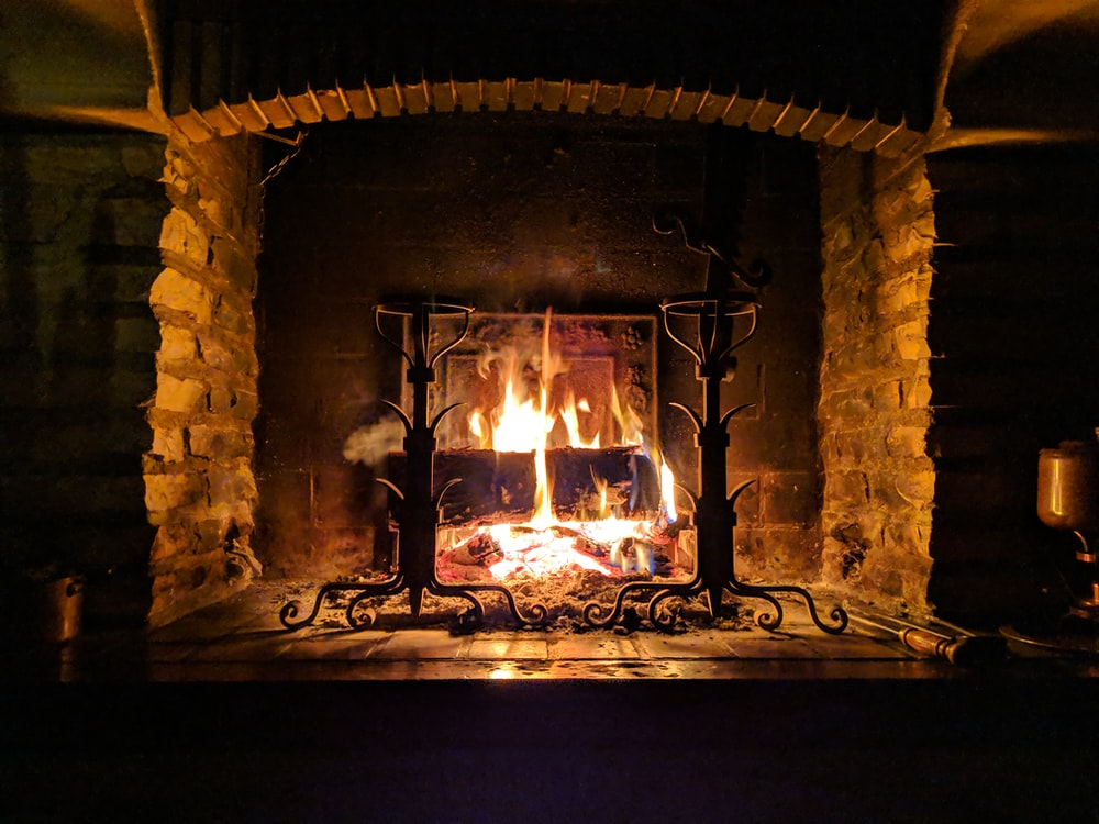 fire burning on fireplace