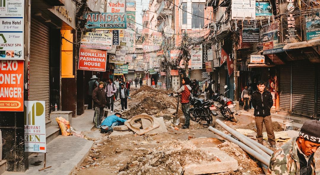 Major road-works in the Thamel area in Kathmandu, Nepal.