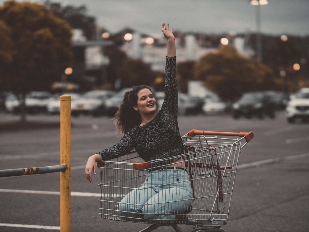 woman in the shopping cart