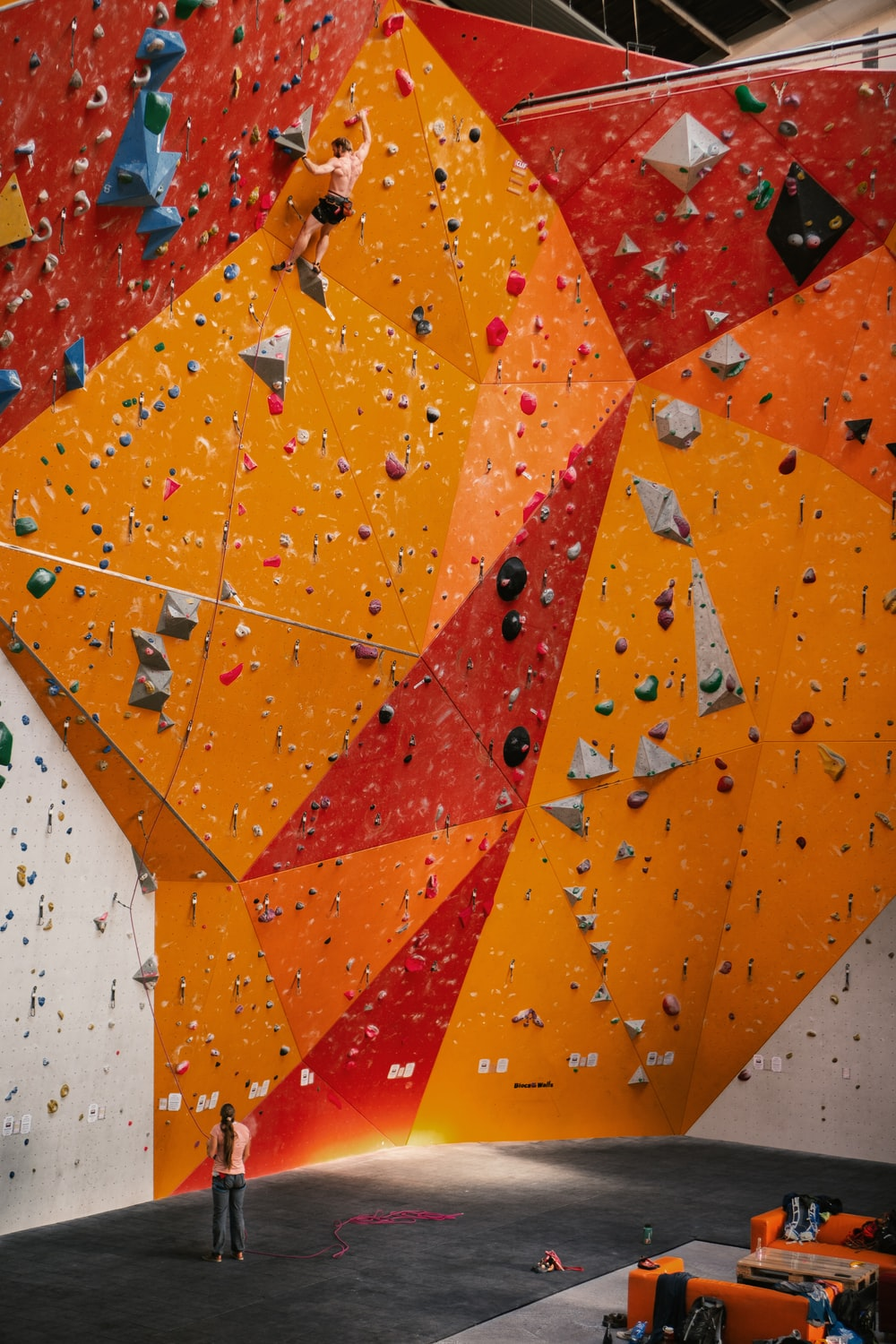 orange and red wall climbing