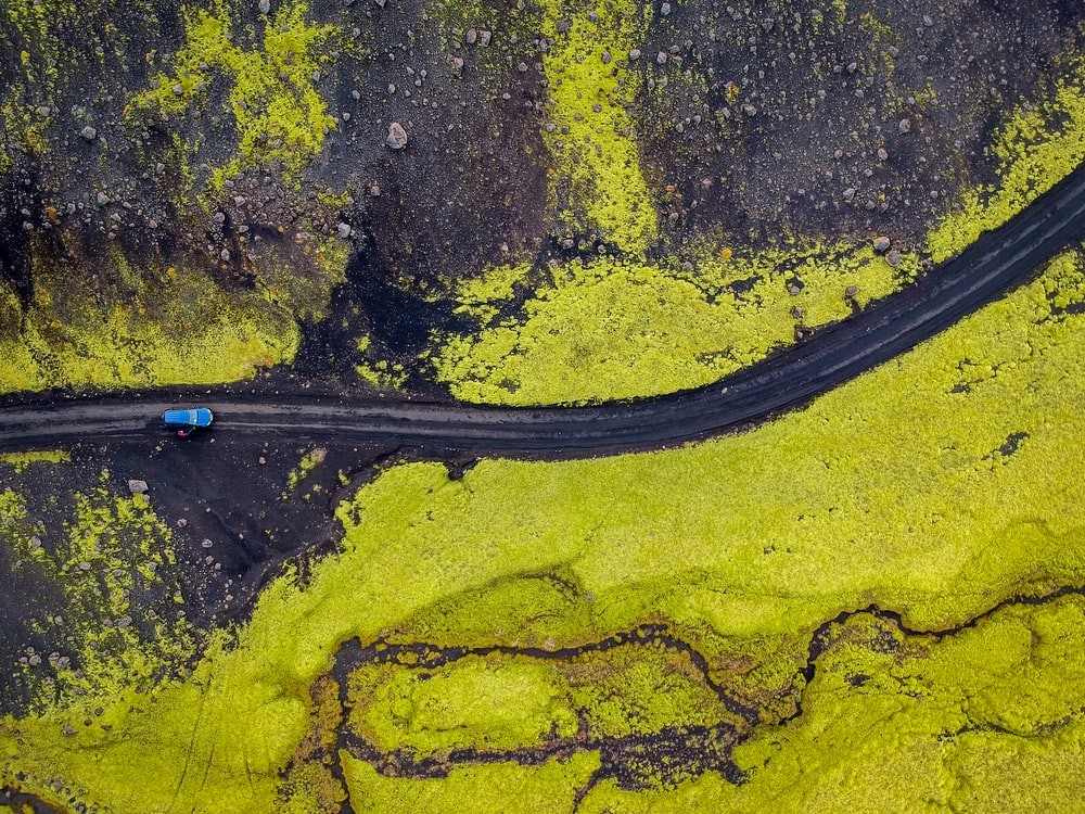 aerial photography of black road path