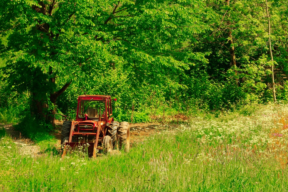 red farm tractor