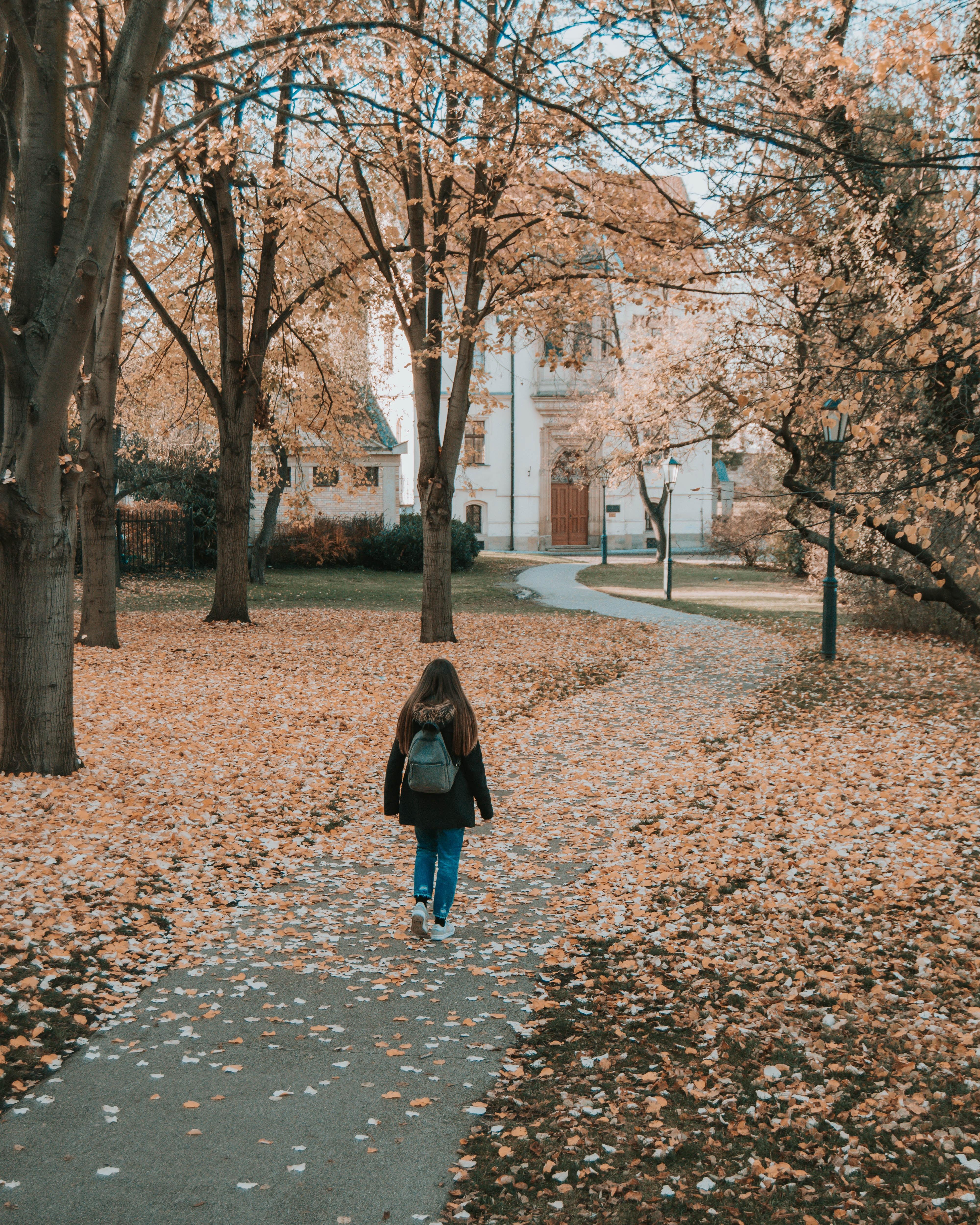 woman walking on pathway