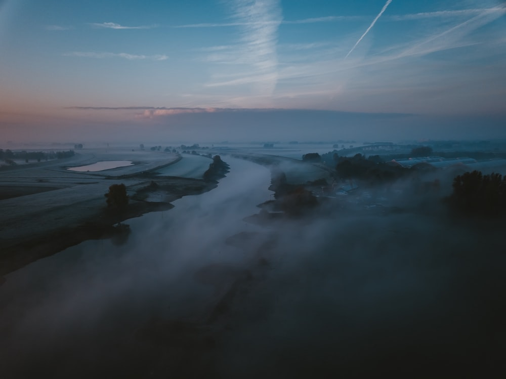 photo of fog covering town