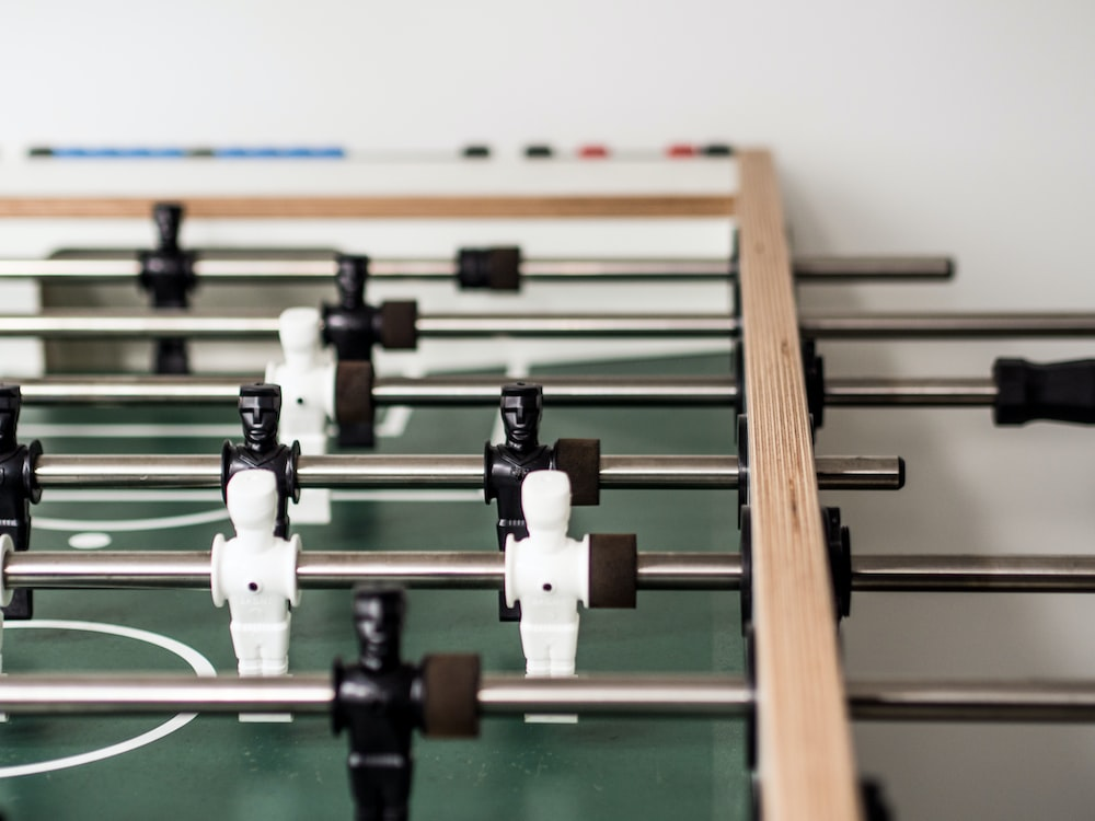 close-up photography of foosball