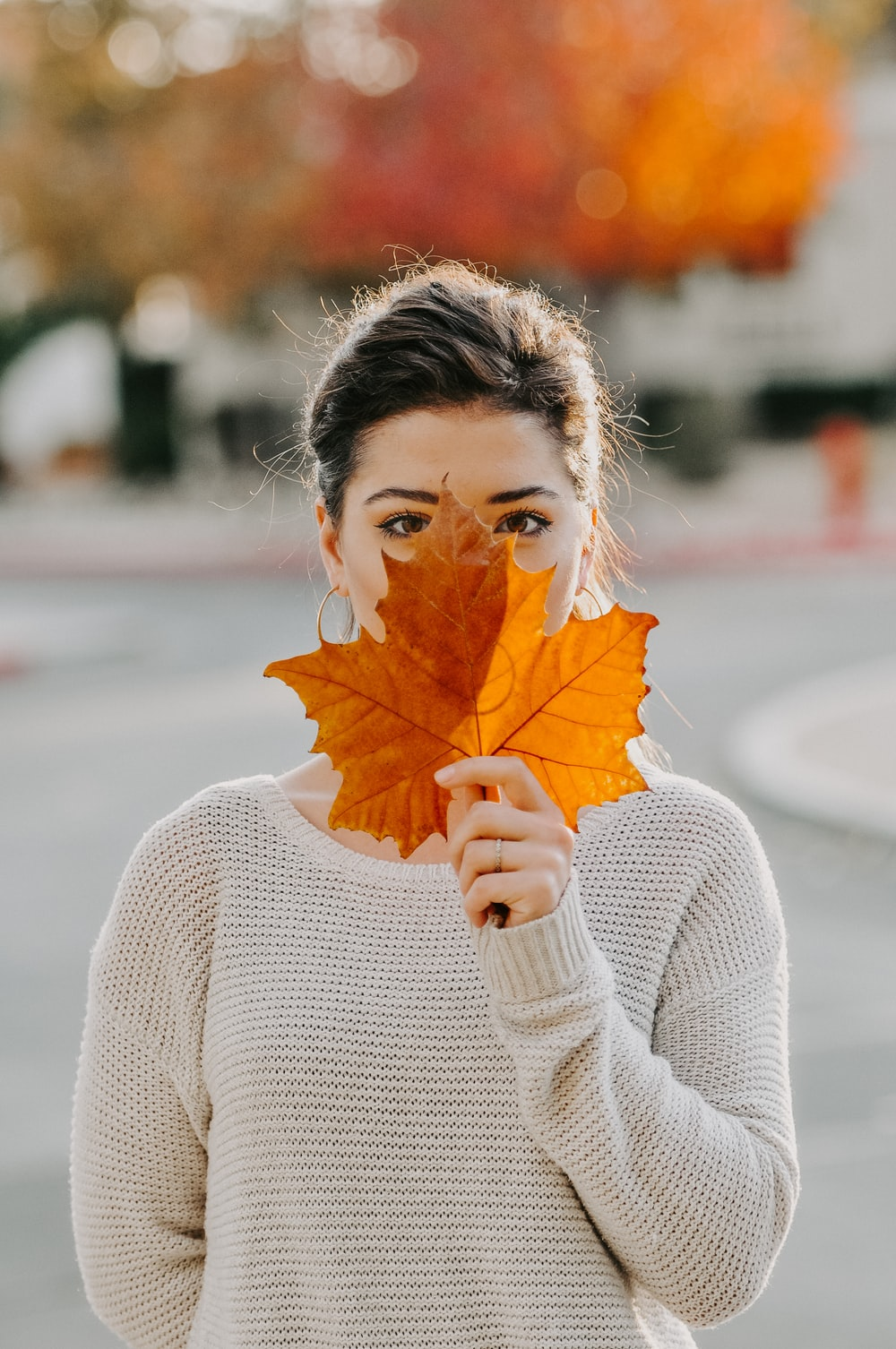 woman holding brown maple leaf