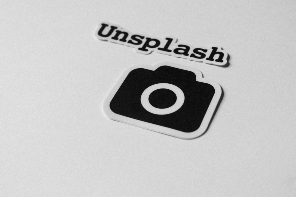 close-up of Unsplash text and camera stickers
