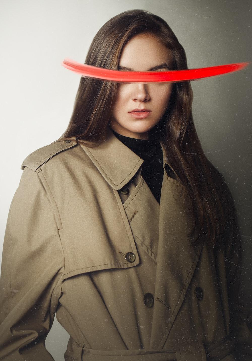 women's brown peacoat
