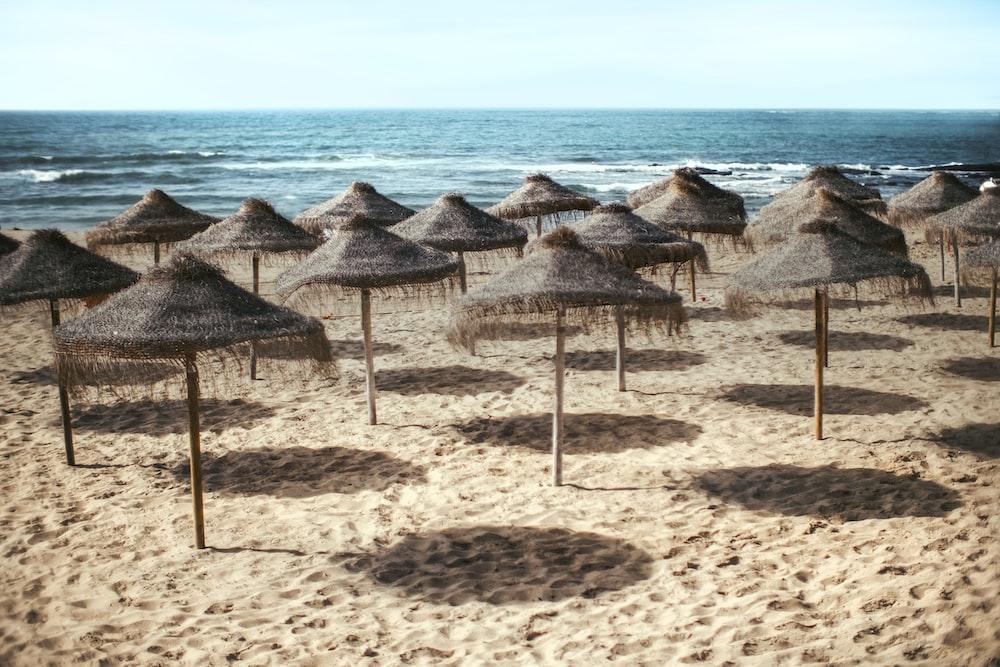 parasol lot on beach