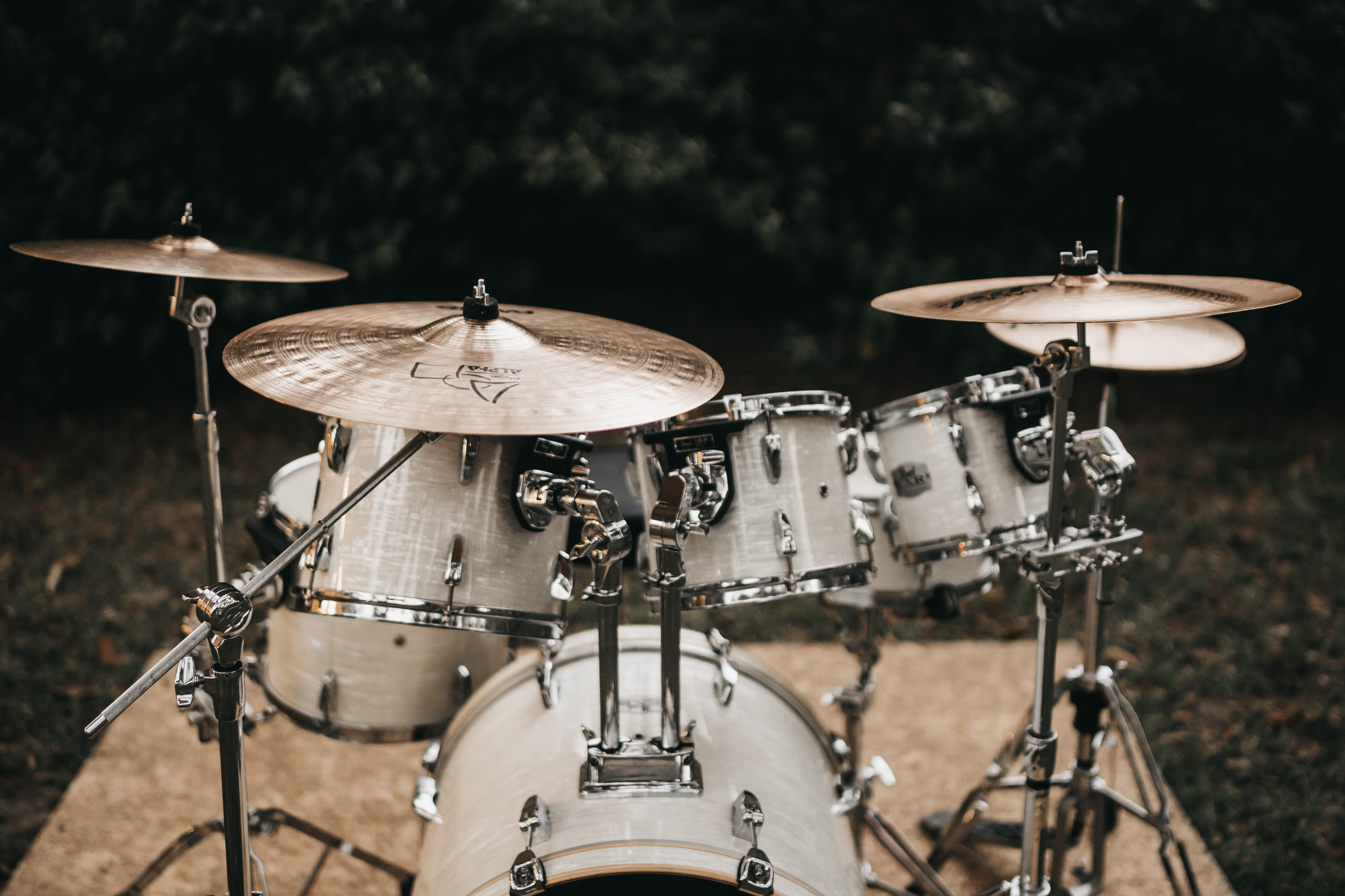 white and black drum set