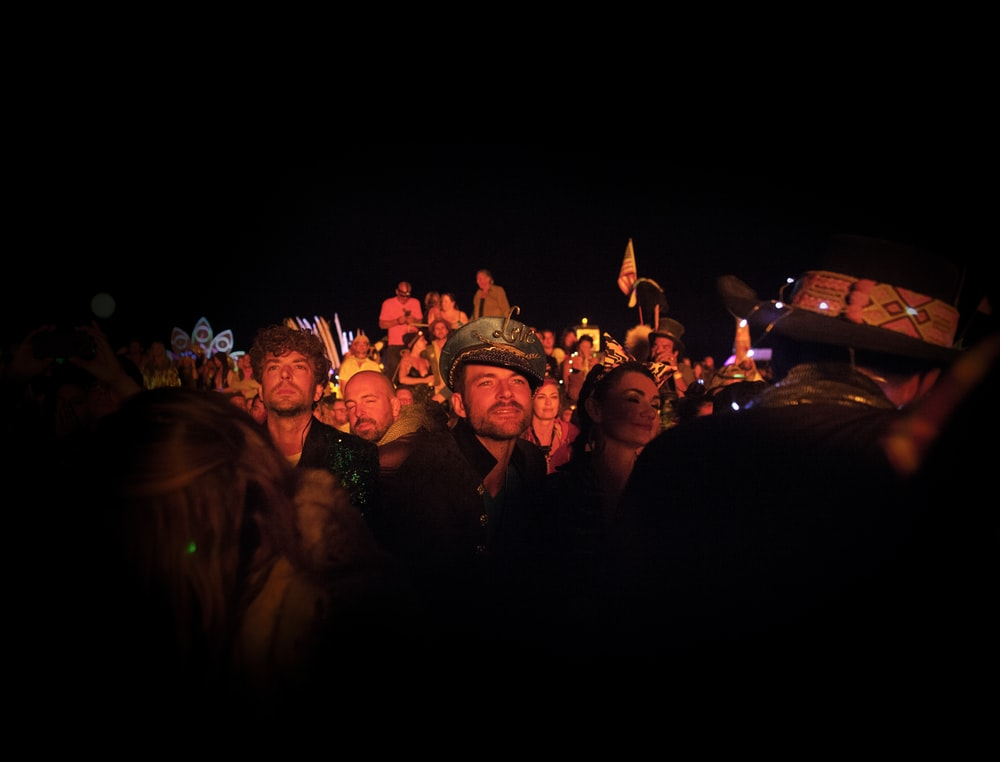 crowd of people at party