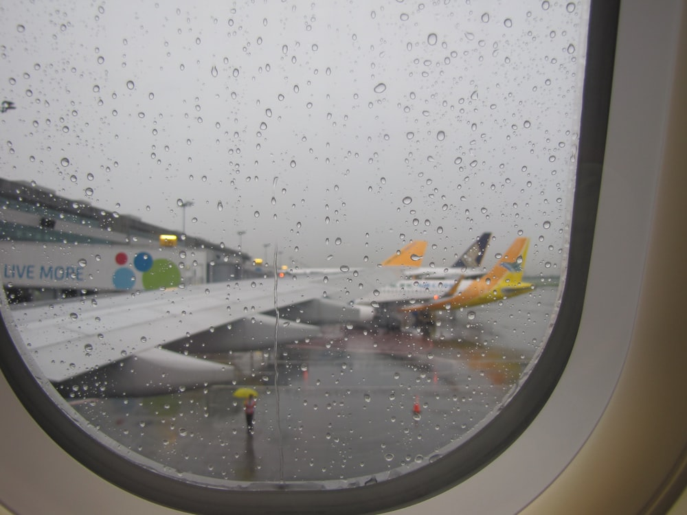 airliner in airport during rainy season