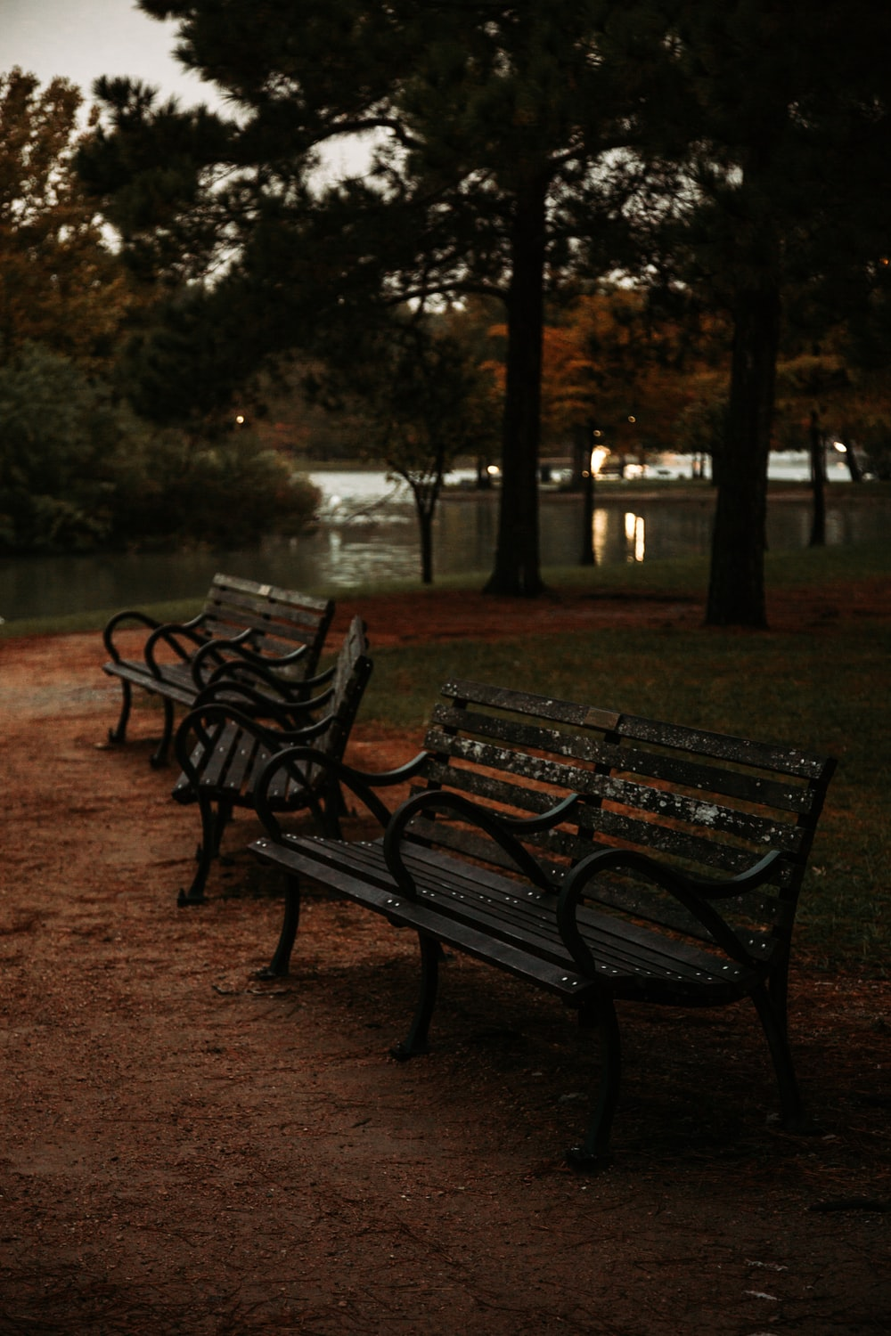 three brown metal benches near trees