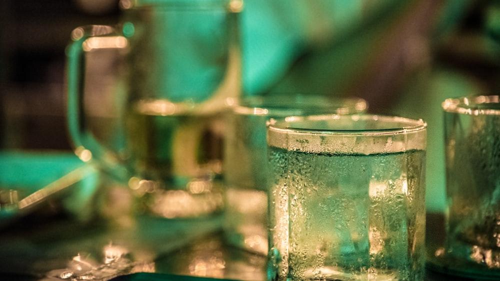 beverage filled drinking glasses