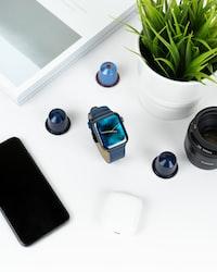 black and blue wireless headphones