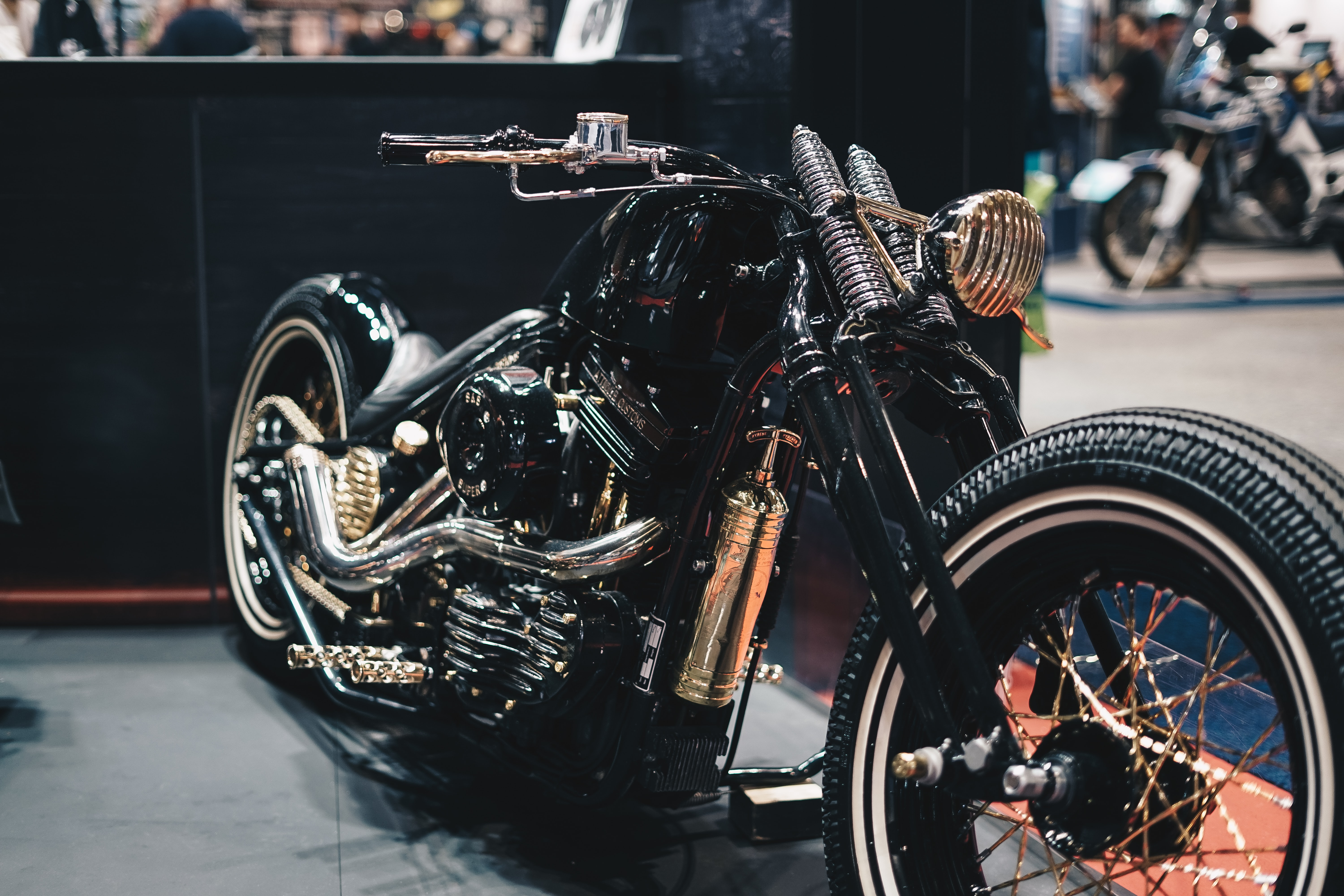 black and silver cruiser motorcycle