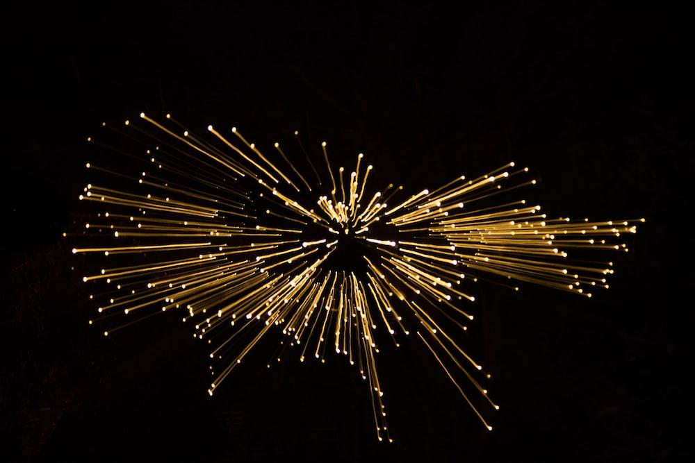 yellow fireworks display