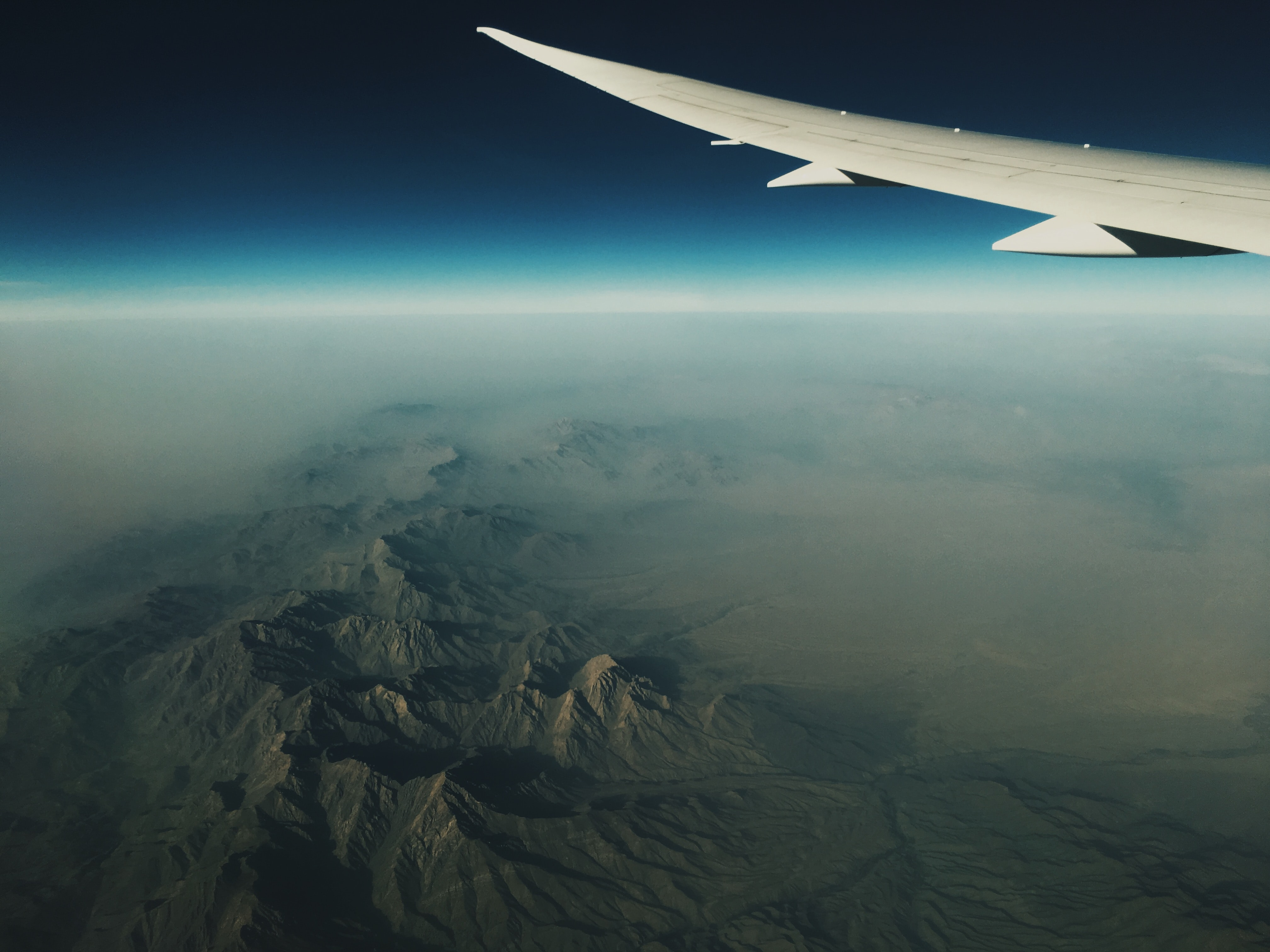 aerial photography of airplane wing