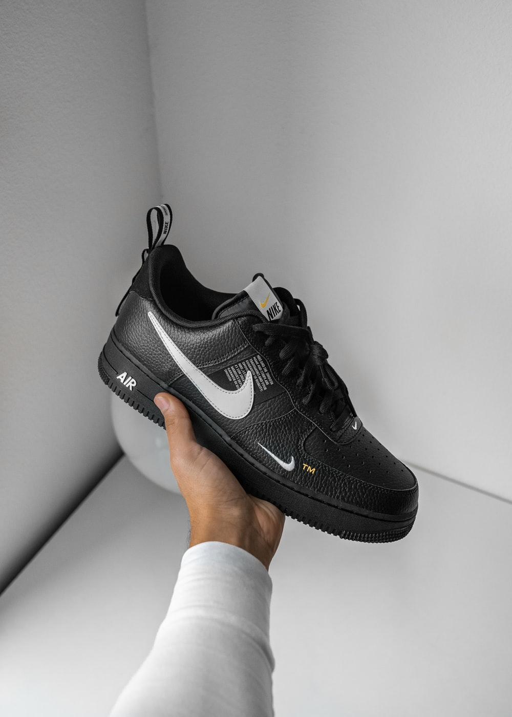 black and white Nike Air Force 1 sneaker