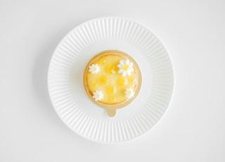 flat-lay photography of custard cake on white plate