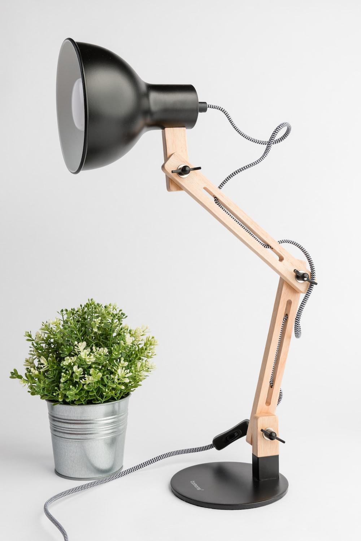 black and white cantilever desk lamp