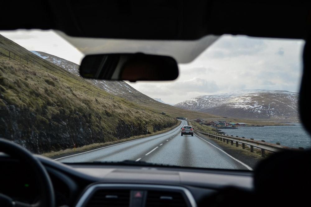 gray vehicle on road