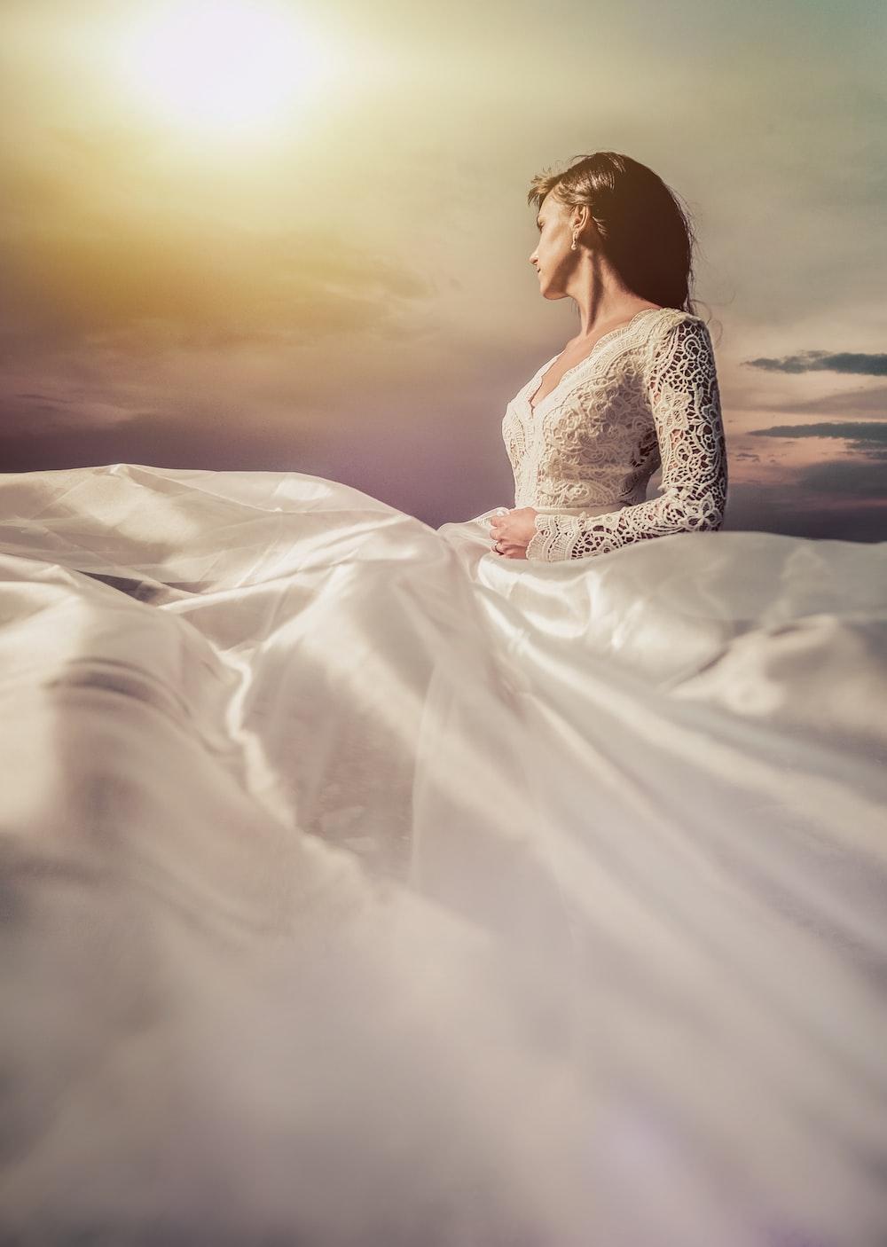 wedding dress and sky