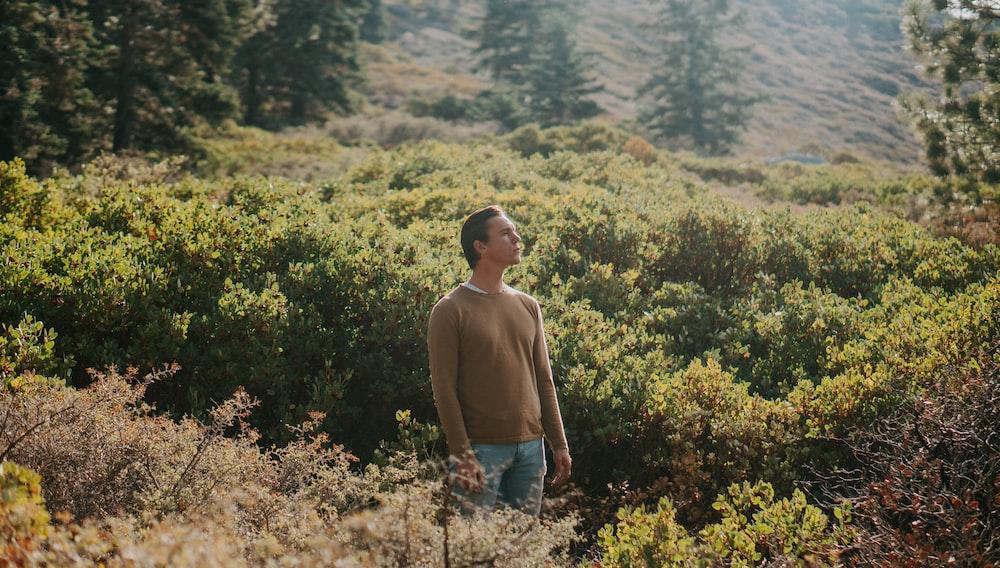 man in gray shirt standing between plants
