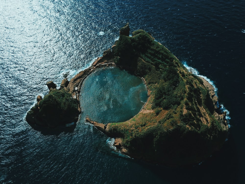 aerial photography of an island