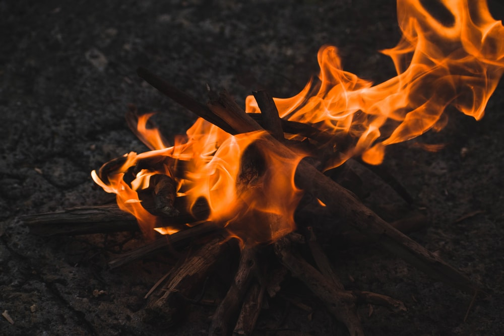 lit bonfire