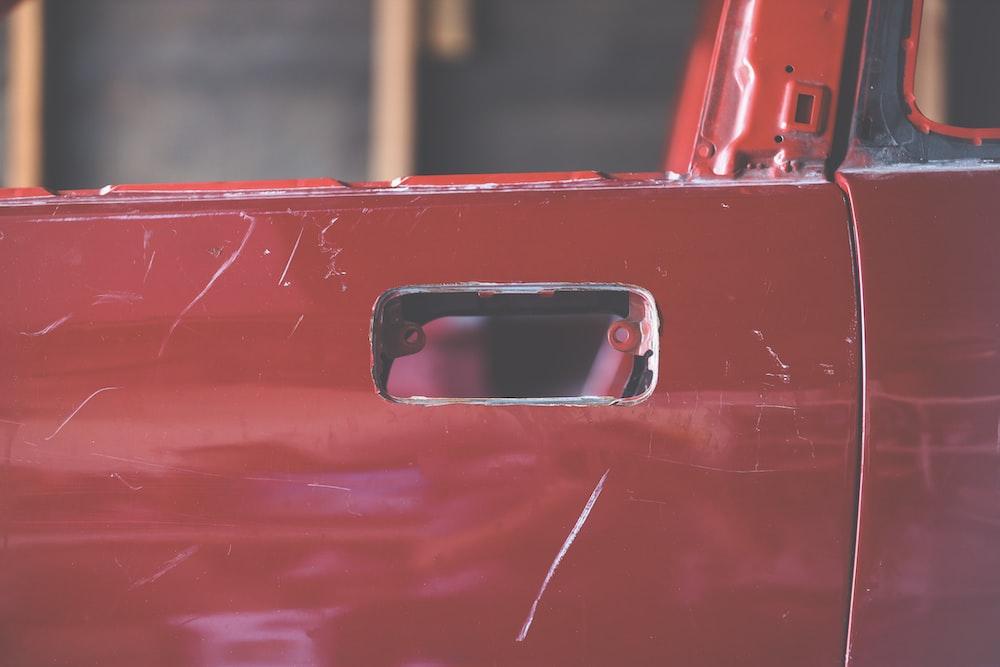 red vehicle door