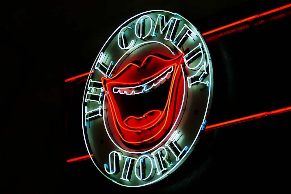 white the Comedy Store neon signage