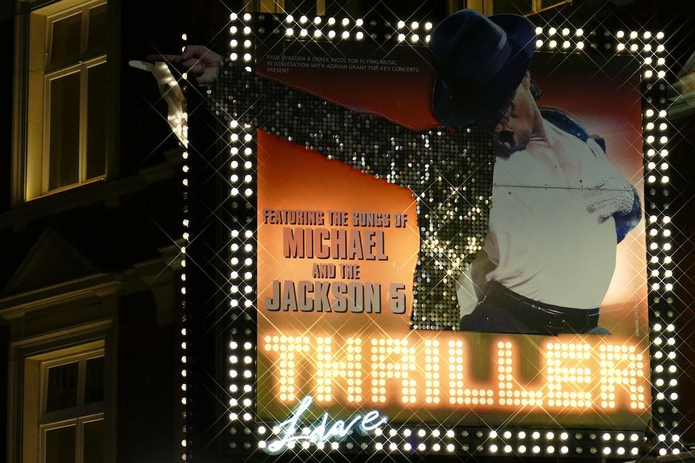 Michael Jackson 5 billboard during nighttime