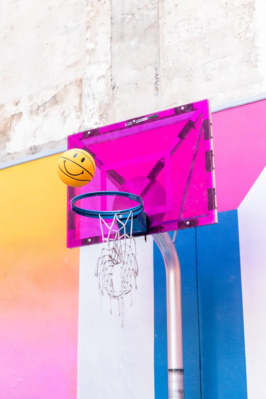 pink basketball system