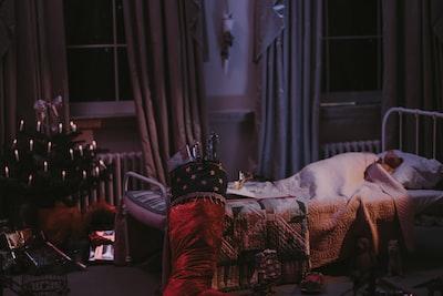 bear plush toy on bed christmas eve zoom background
