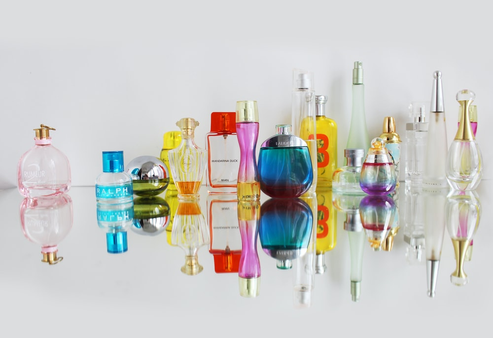 assorted glass fragrance bottles