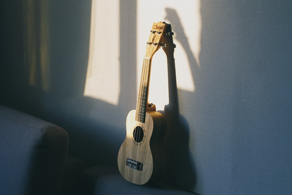 brown ukulele