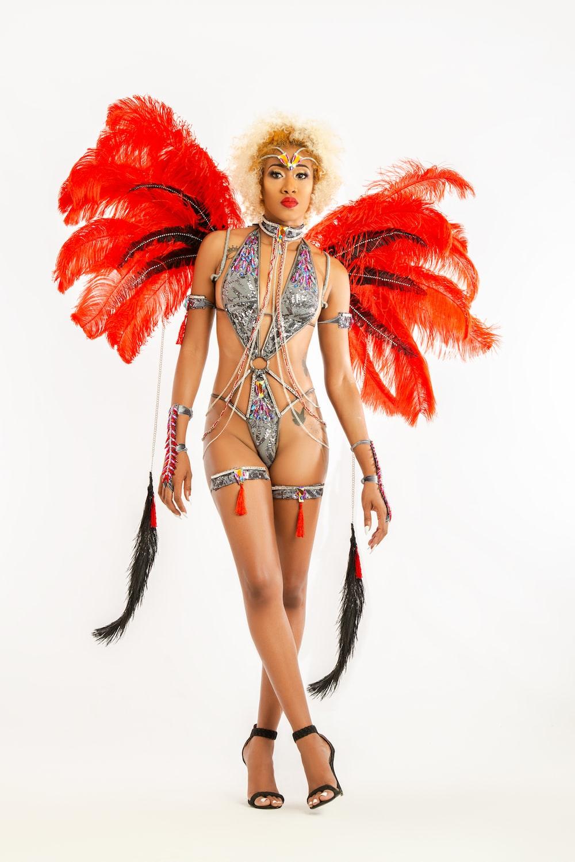 woman wearing feathered silver monokini