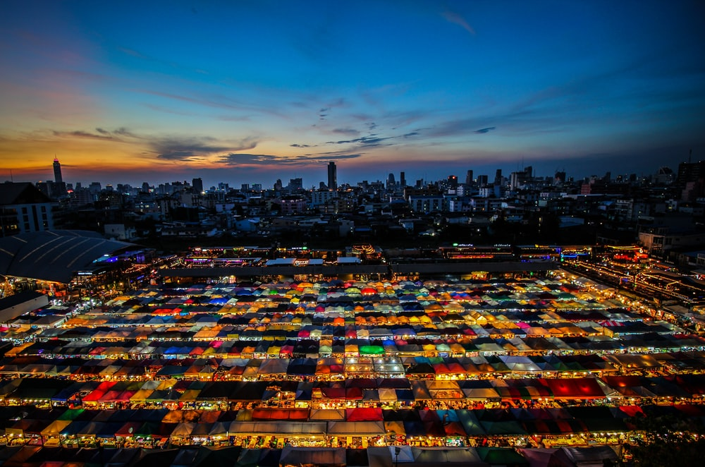 aerial photography of city buildings during night time