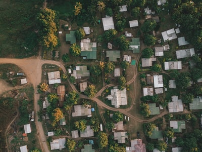 aerial photography of houses and trees fiji teams background